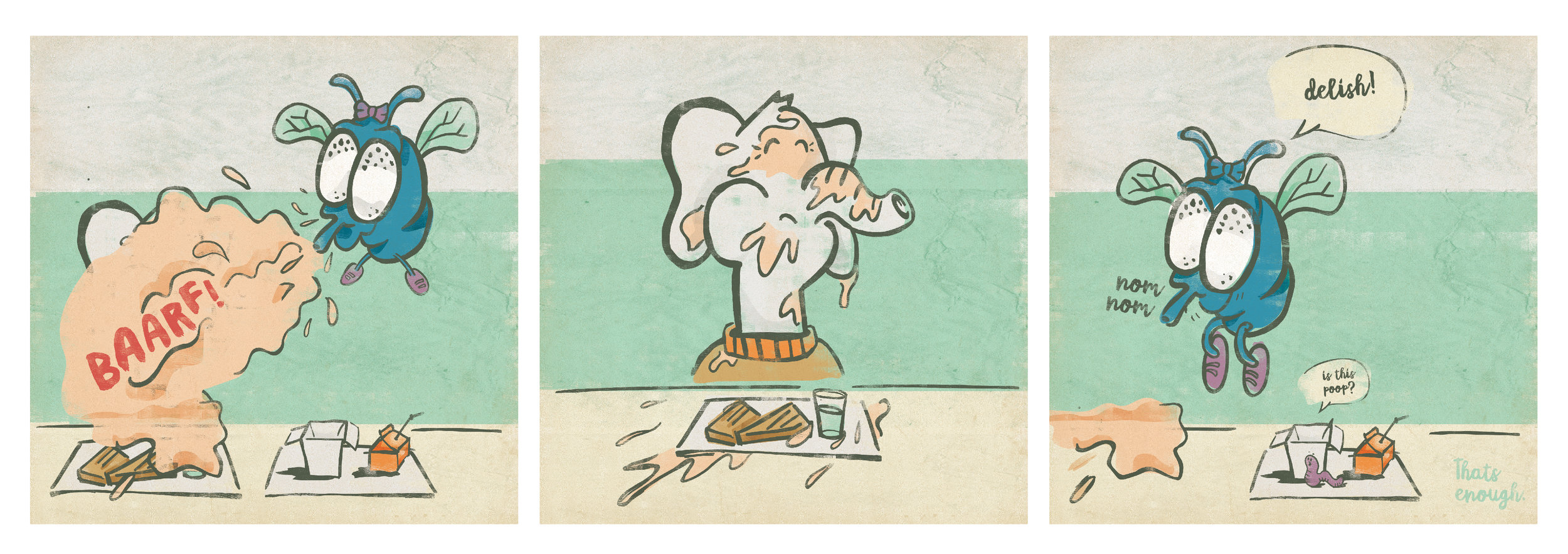 A HeyRoger webcomic about an elephant eating peanut butter paninis with a fly.