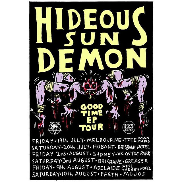 We couldn't be more excited to see @hideoussundemon team up with @123agencygroup, as they hit the road to support the release of the new EP 'Good Time', out July 5th!!