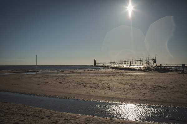 Sunset over beach of south haven
