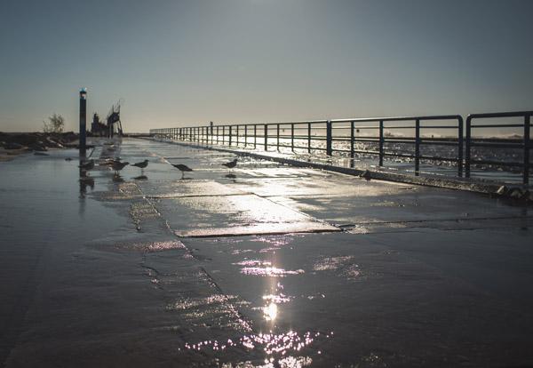 couple walking along pier at golden hour