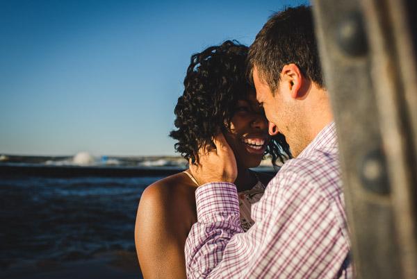 closeup portrait of couple on pier