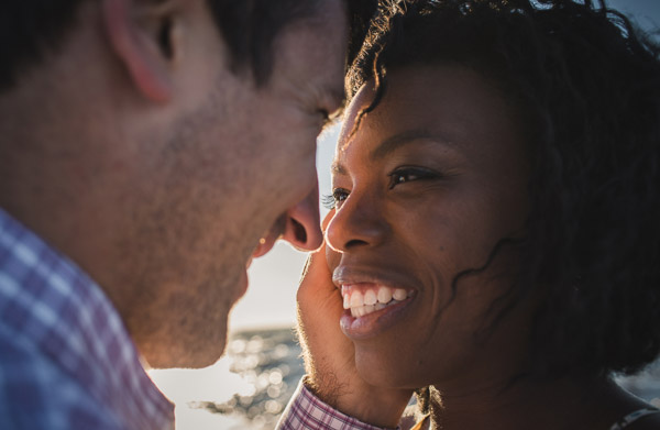 intimate connection between couple in golden light