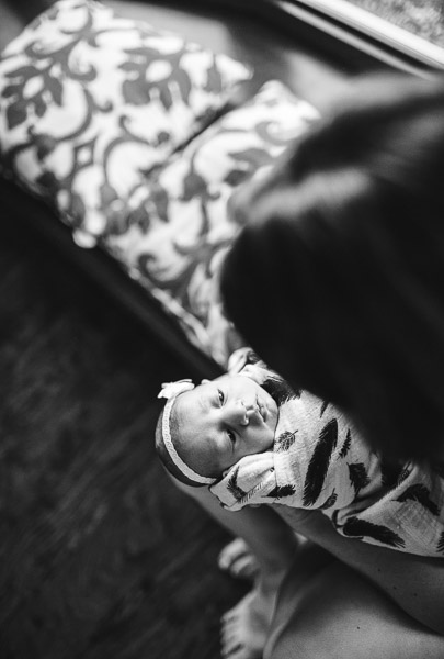 overhead newborn portrait with mother; black and white