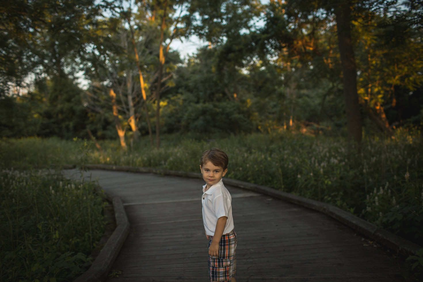 Golden Hour portrait of little boy looking back