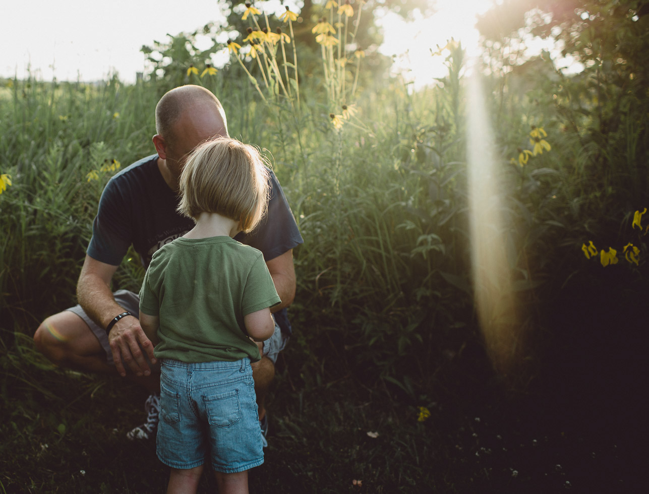 daughter showing father a flower within sun flare of an open field