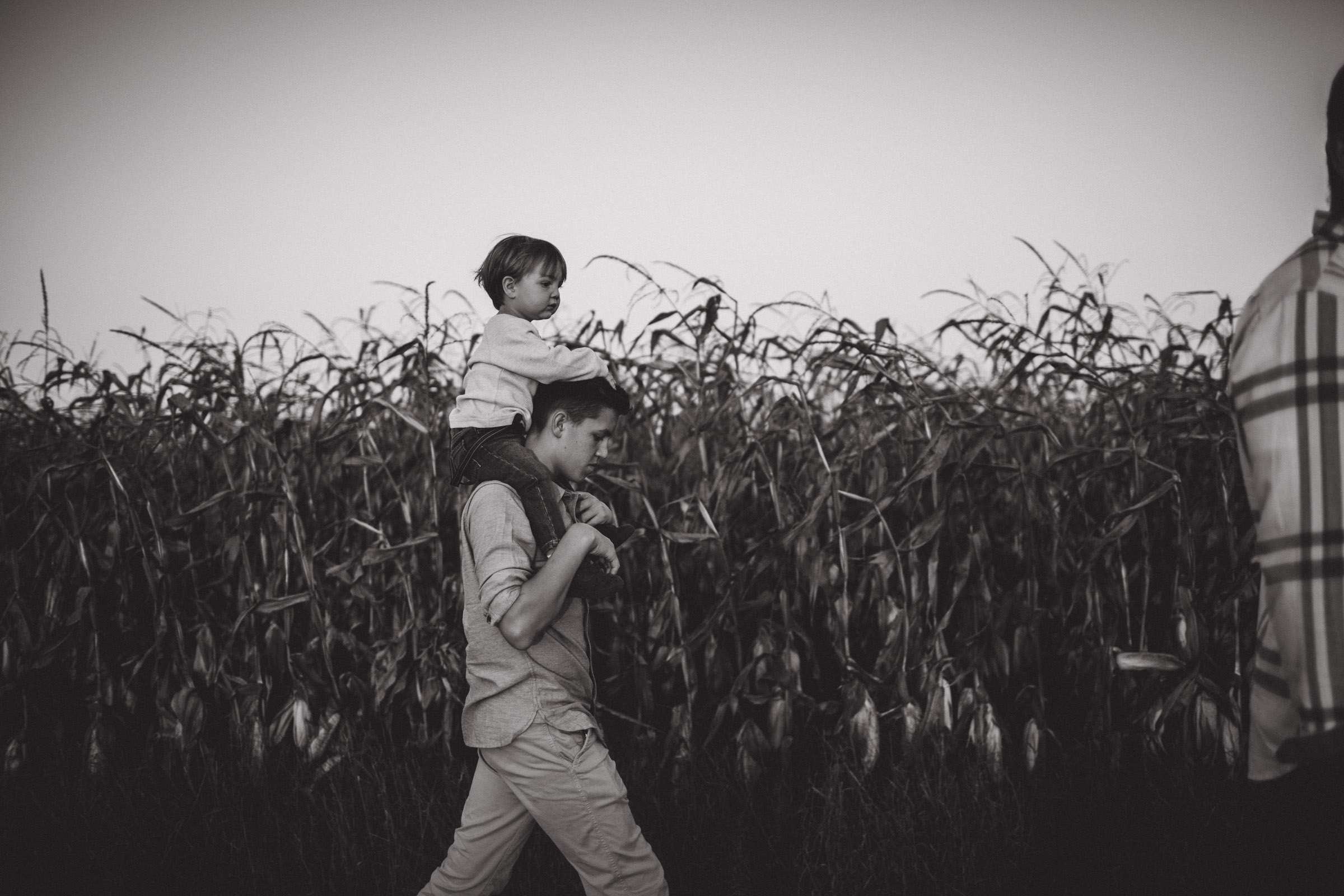 older brother carrying younger brother on shoulders beside cornfields