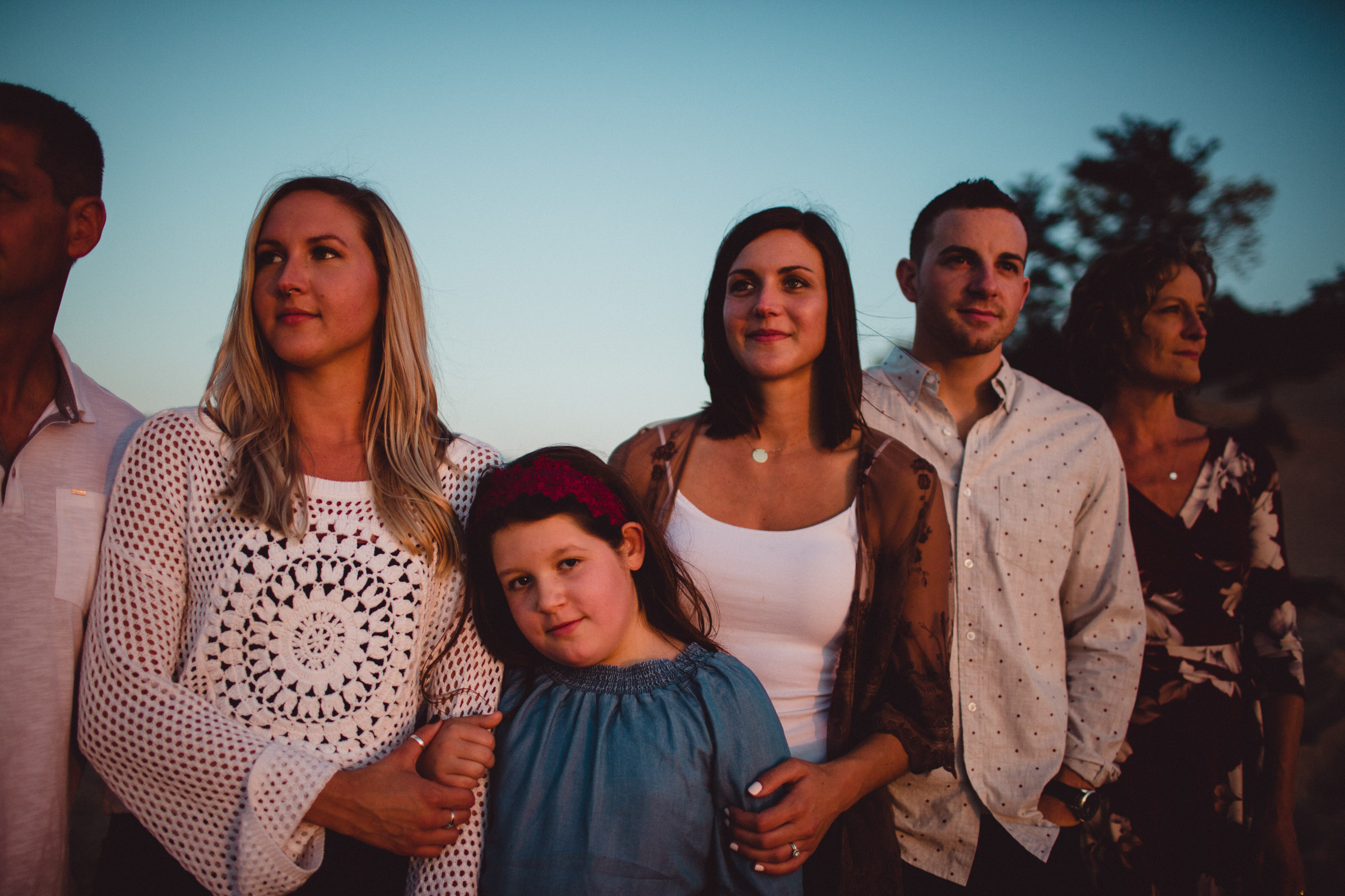 family front lit image at sunset