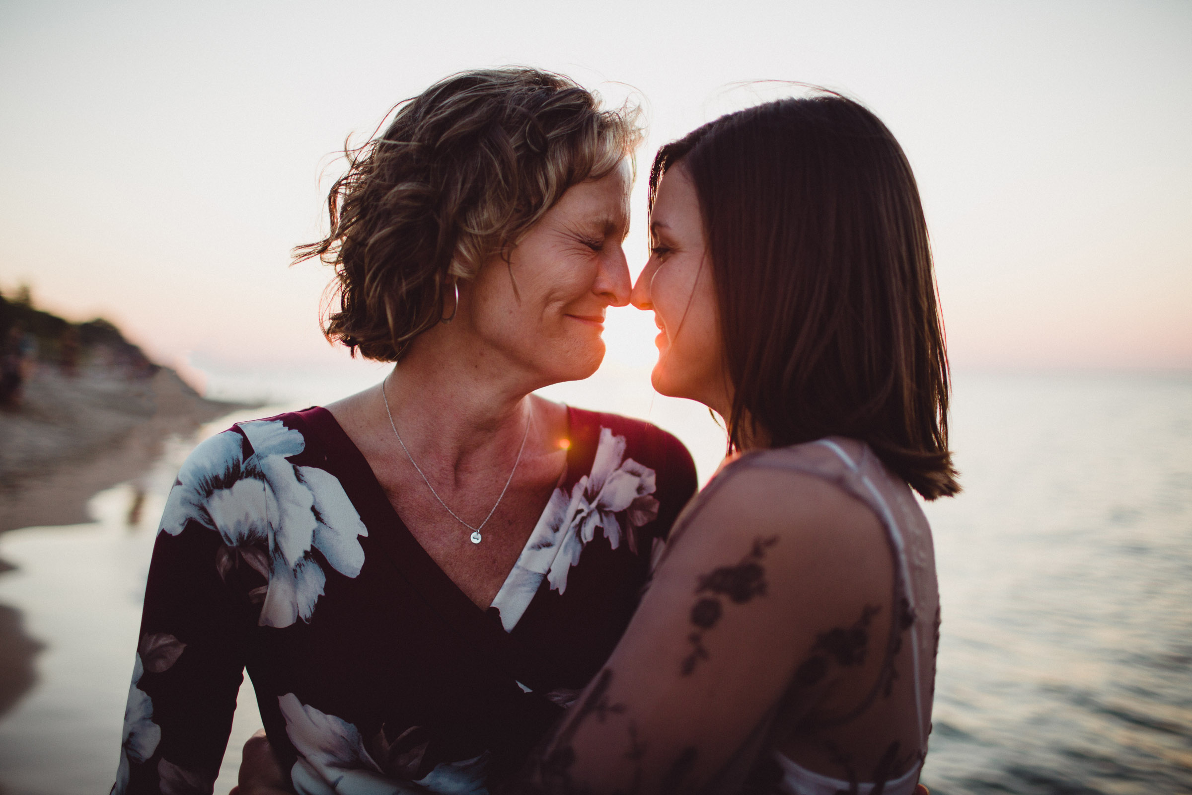 mother, daughter portrait on the beach