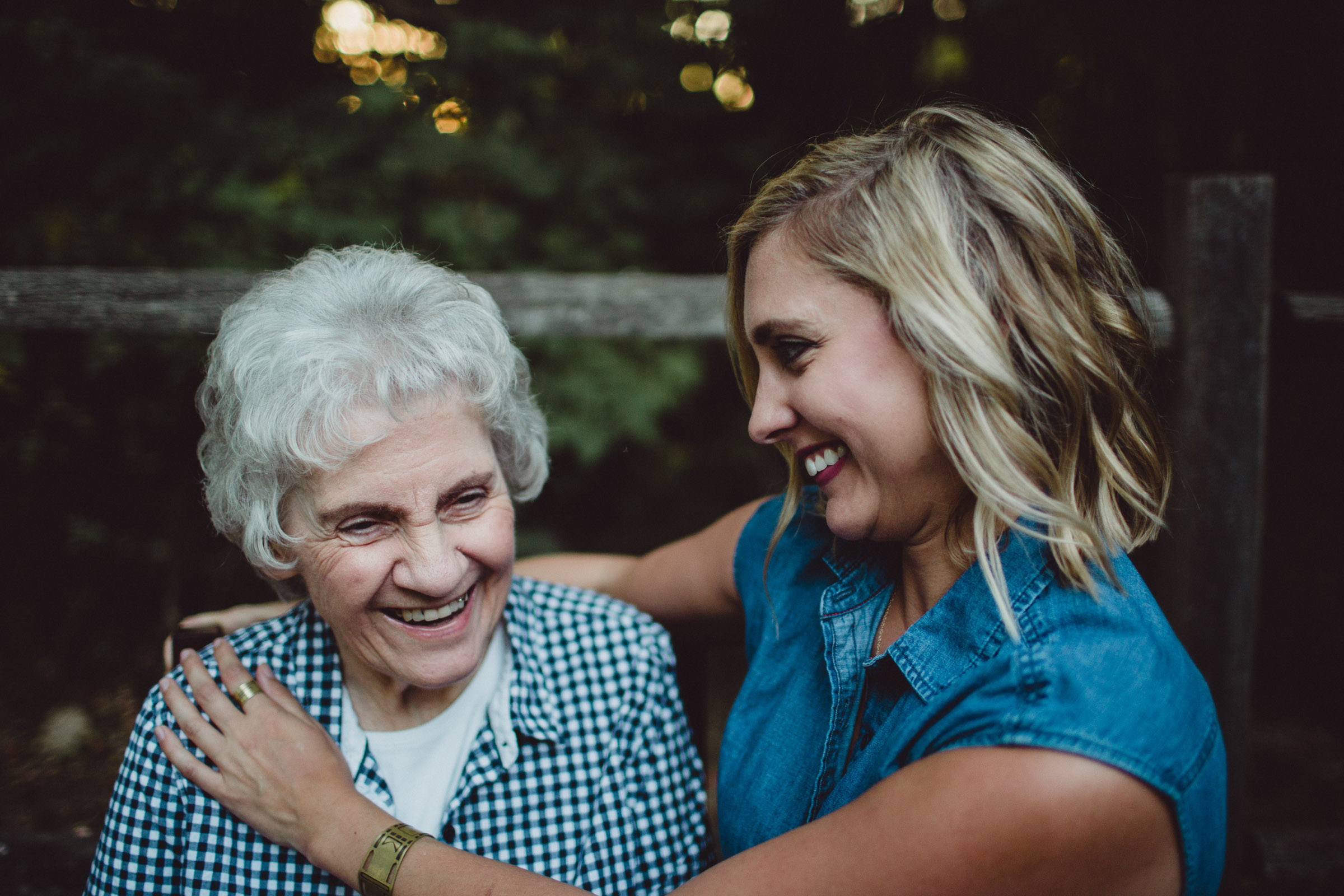 exchanging laughs with grandmother