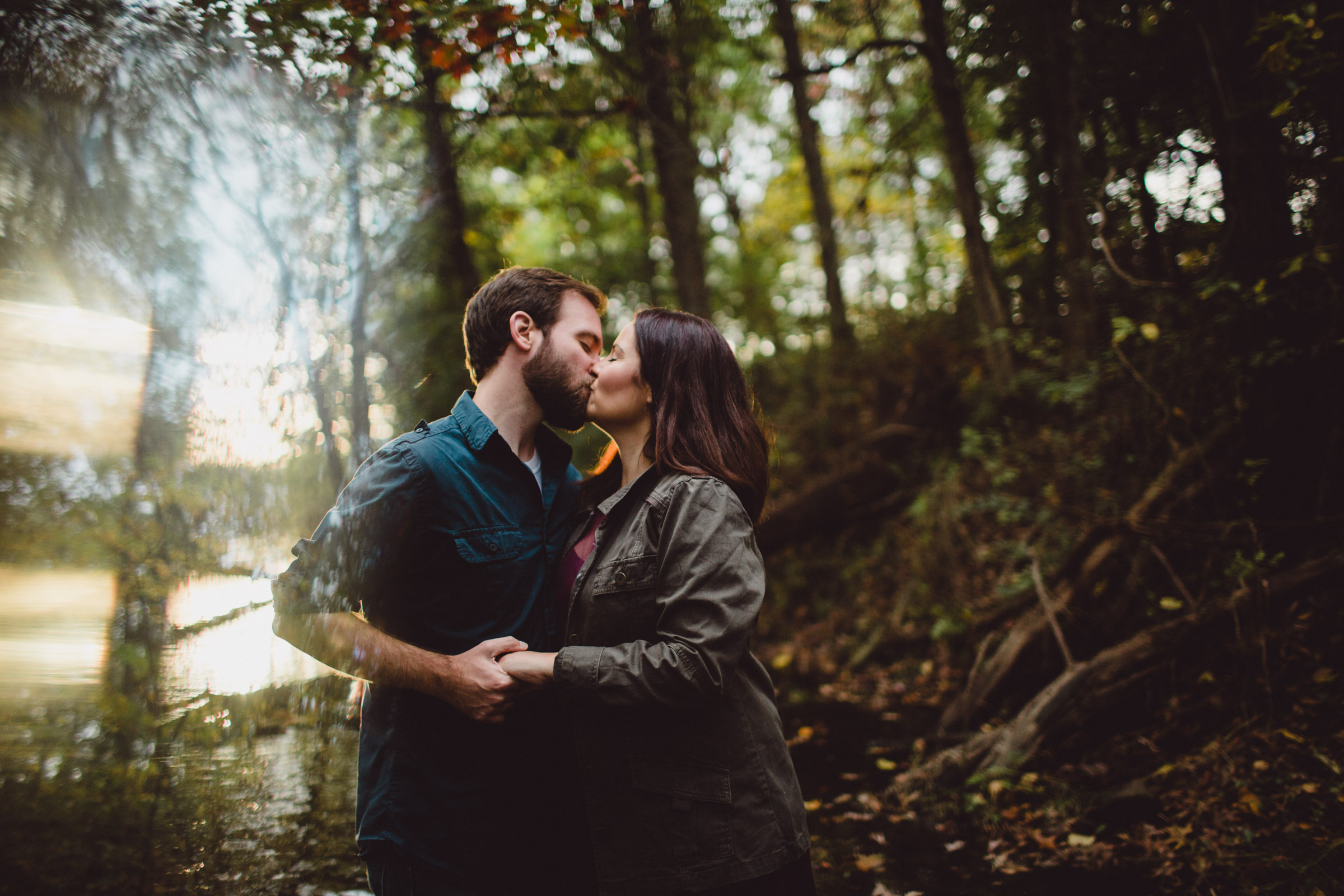 prism light with couple kissing