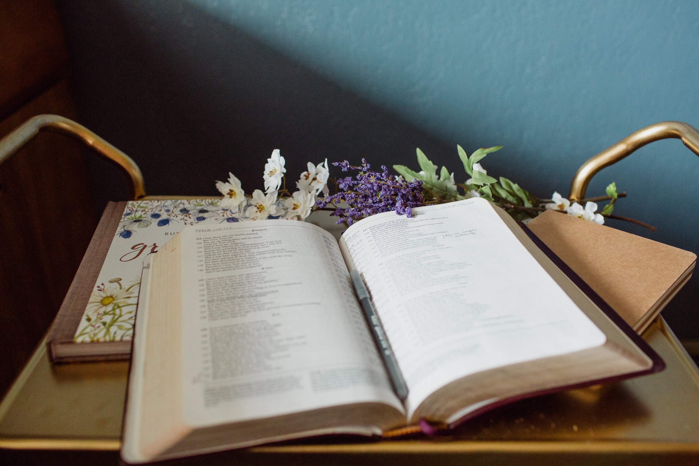 Bible and flowers