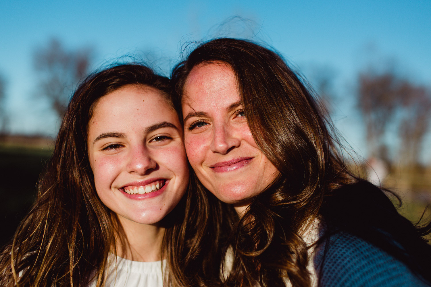 portrait of mother and daughter together