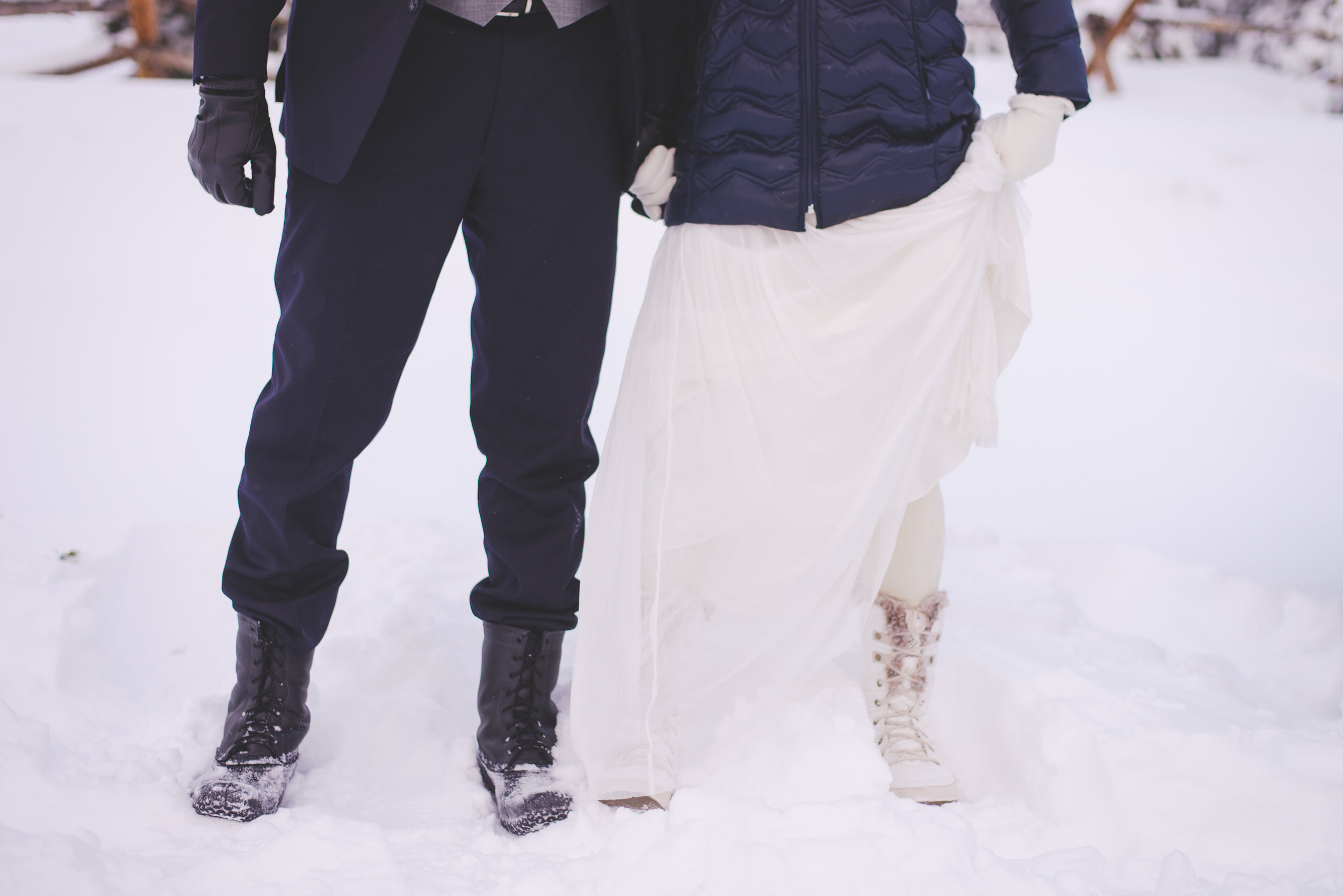 """destination bride and groom came prepared with boots for their wedding day, which saw over 18"""" of fresh snow fall the night before! always be prepared..."""