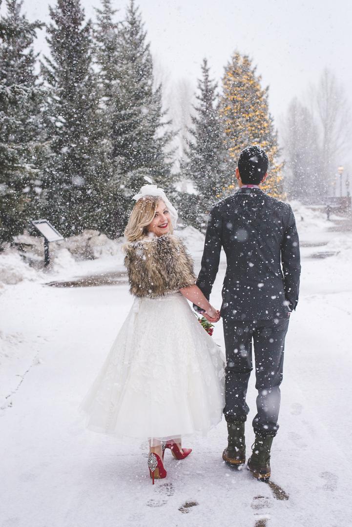 winter breckenridge colorado snowy elopement