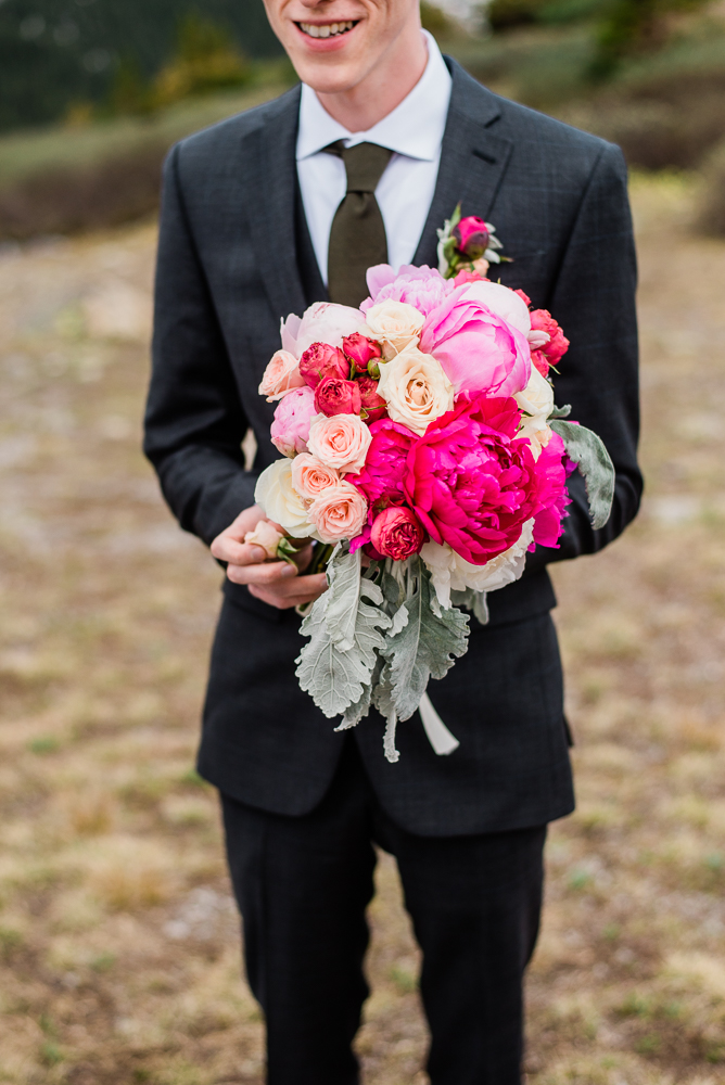 Rocky Mountain Colorado Elopement flowers by woodland breck