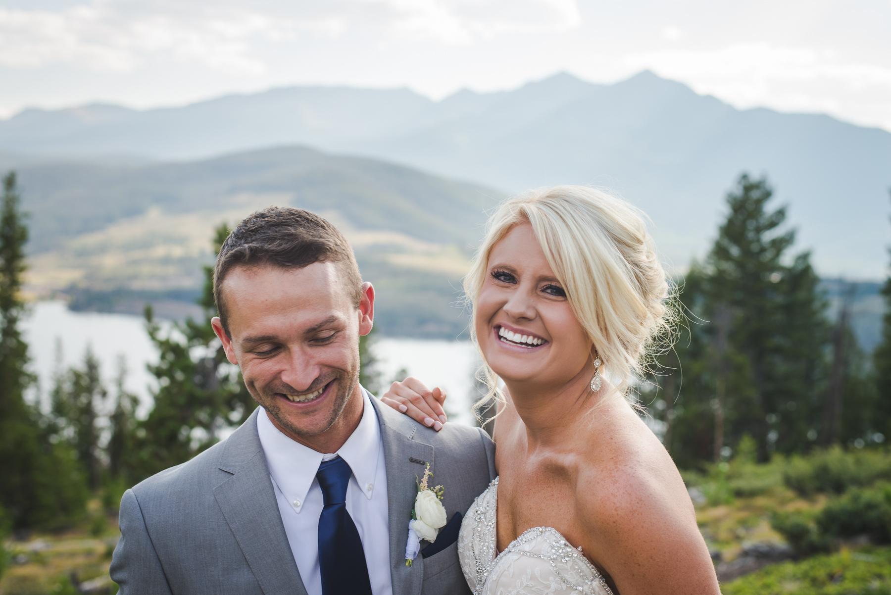 colorado bride and groom laughing