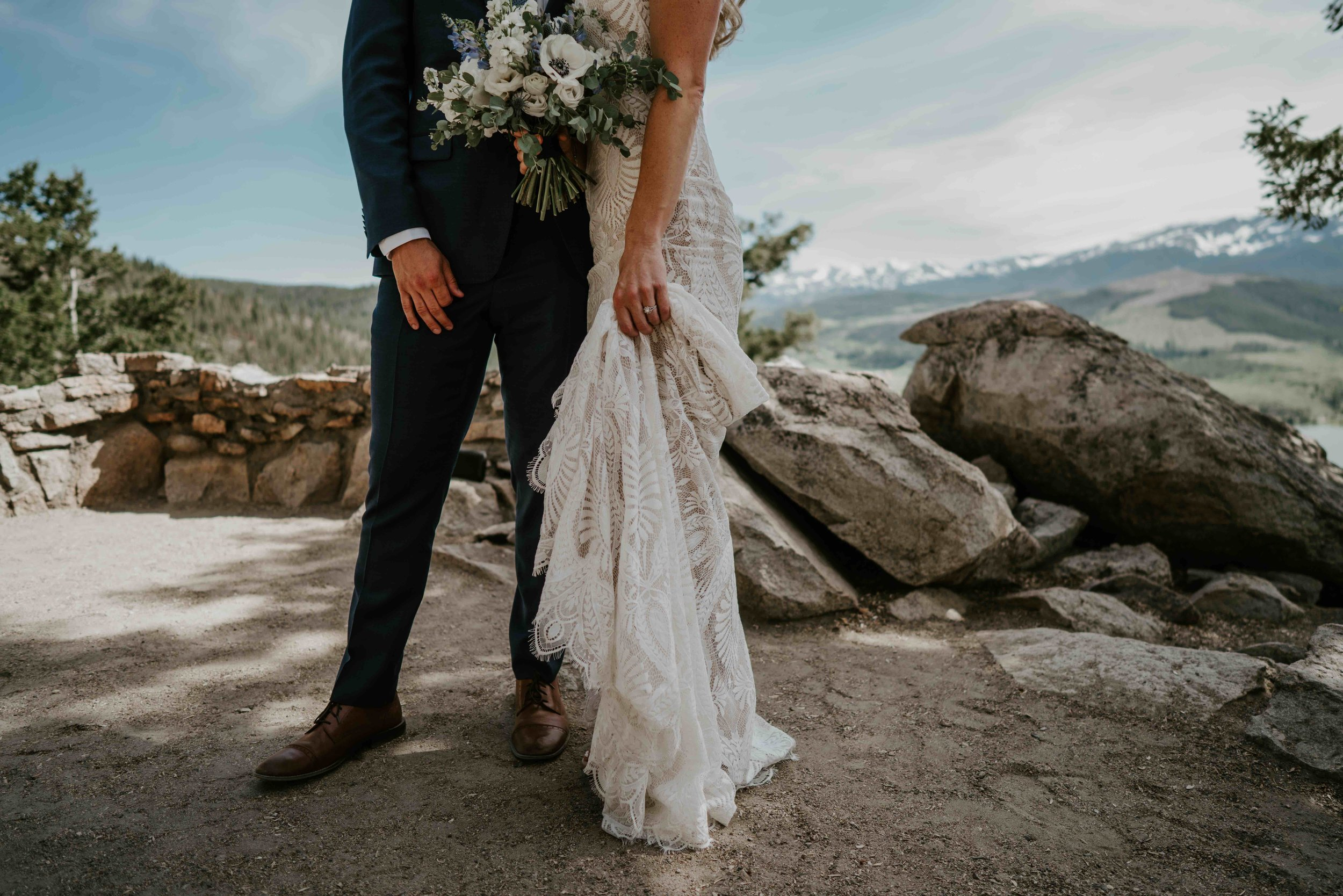 colorado bride and groom just married small wedding by lake dillon   summit mountain weddings