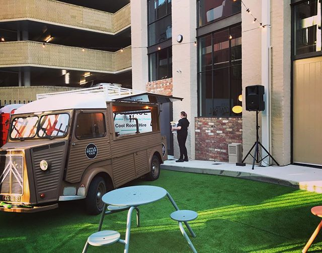 The little brass van is at it again, set up in #perth city centre at the grand opening for @livingedge . It was a quick turn around for the old brass van but we got her there safe and sound and ready for action. @livingedge @littlebrassvan  #furniture #party #event #vintageperth #cocktails