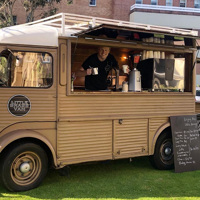 Come on down for you coffee fix with Jack in the Little Brass Van @littlebrassvan #perthcoffee #morning #perth #coffeevan #fresh