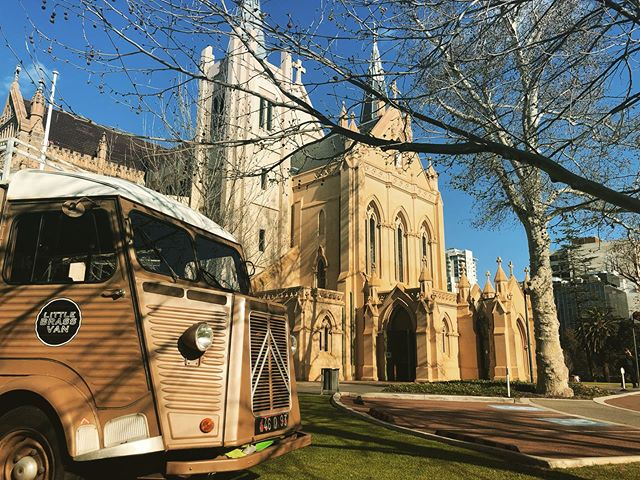 The little brass van has a new home, come on down this Sunday for a coffee. We're in the most beautiful location in Perth city centre, every Saturday and Sunday. @littlebrassvan @dukes_coffee #perthcoffee #perth #morning #coffeevan