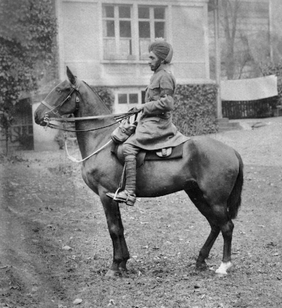 Tom's groom, Dafadar Arjan Singh, mounted on Daisy in Saint-Valery-sur-Somme, Christmas 1916. He was awarded the Distinguished Conduct Medal.  © Westmacott Family Archive