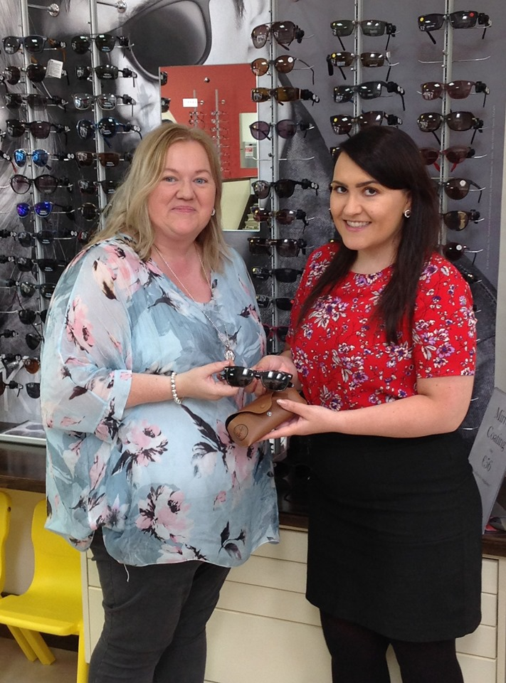 Summer RayBan Competition - Our lucky prize winner Deirdre Bracken being presented with her fab new RayBan sunglasses! Now Deirdre can enjoy the sunshine in style!! Thanks again to everyone who entered