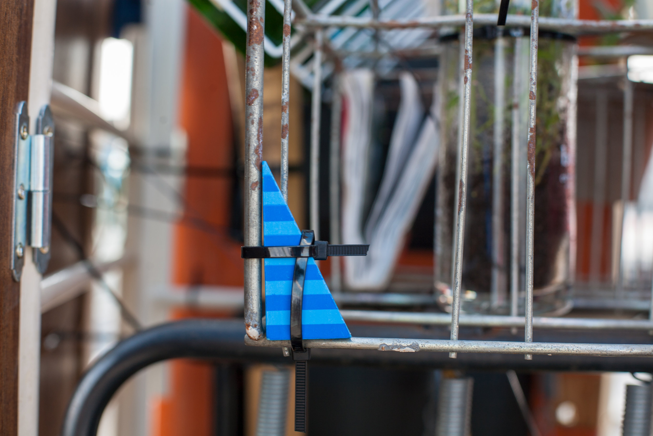 A blue toy detail