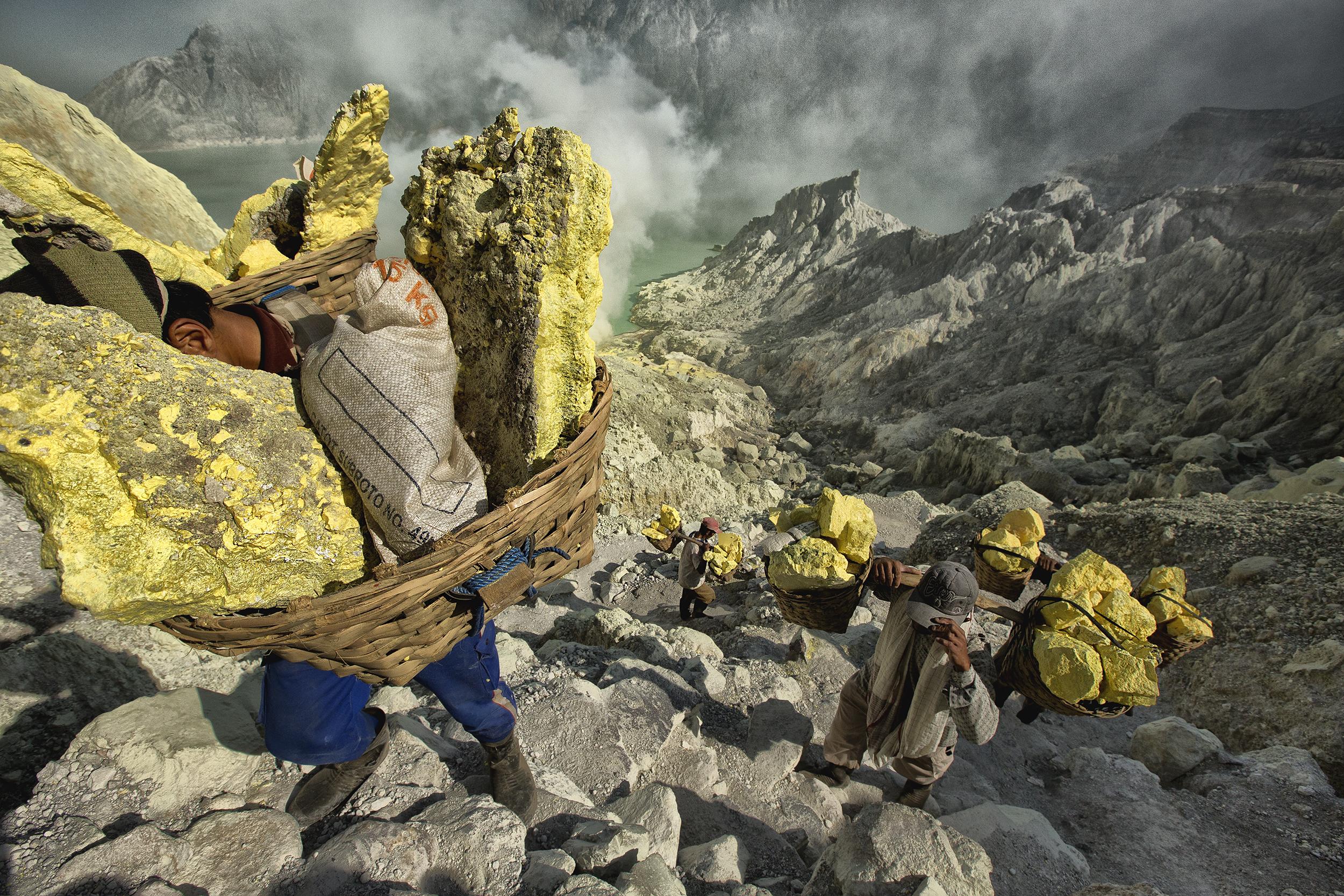 Sulphur Porters, Ijen Volcano, Indonesia, 2012.
