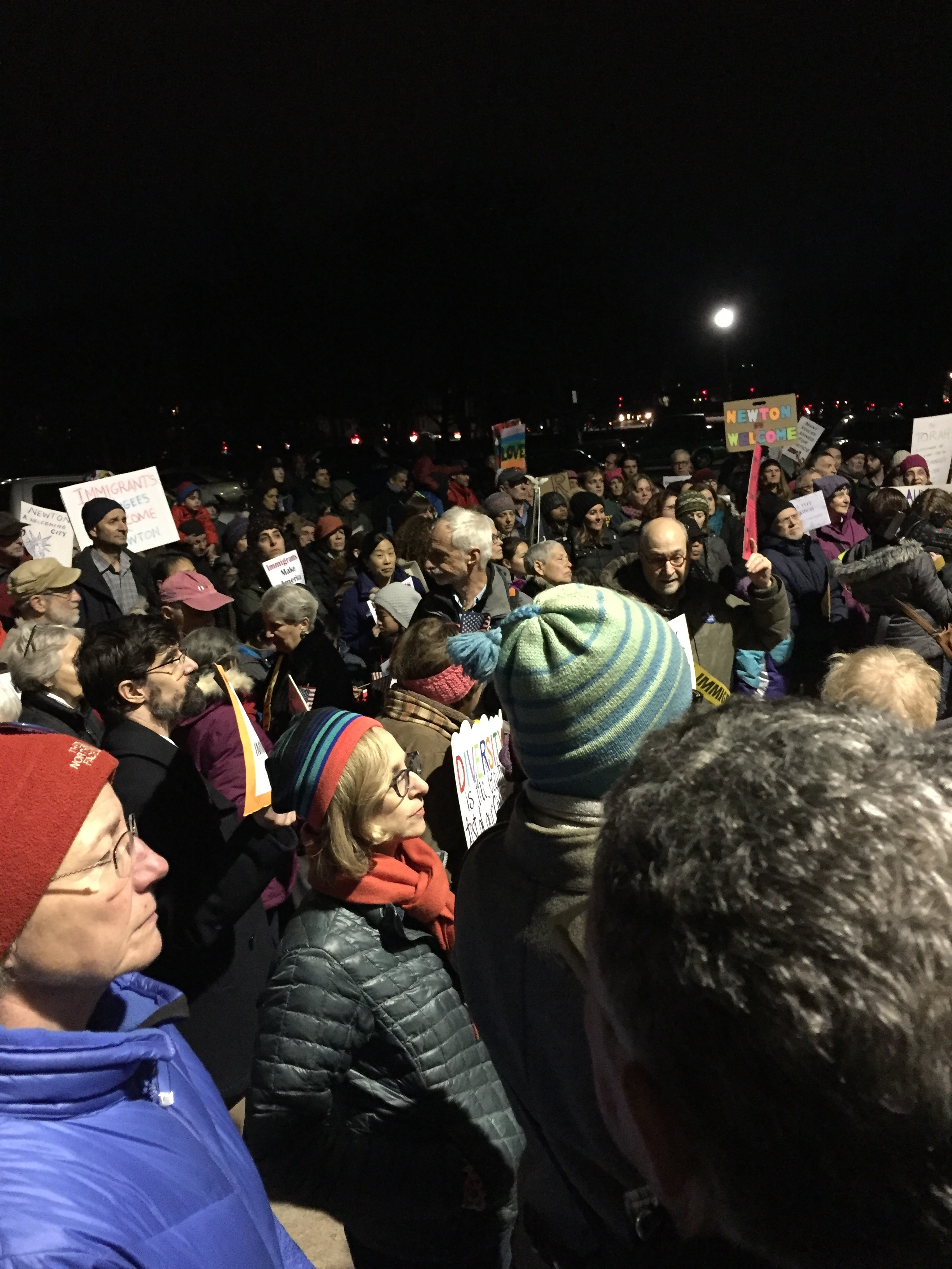 Rally at Newton City Hall in support of Welcoming City Status on February 8, 2017.On February 21st, the Ordinance was voted on and passed with a 16-1 victory!