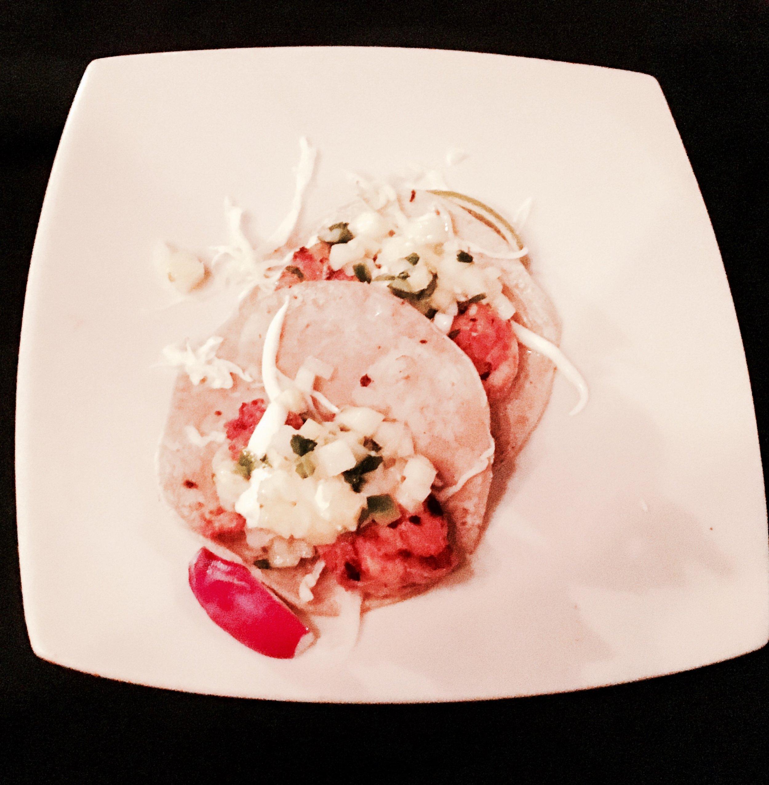 Camarones - Guajillo & Grapefruit Marinated Seared Shrimp, Cabbage, Crema, Watermelon Cucumber Salsa