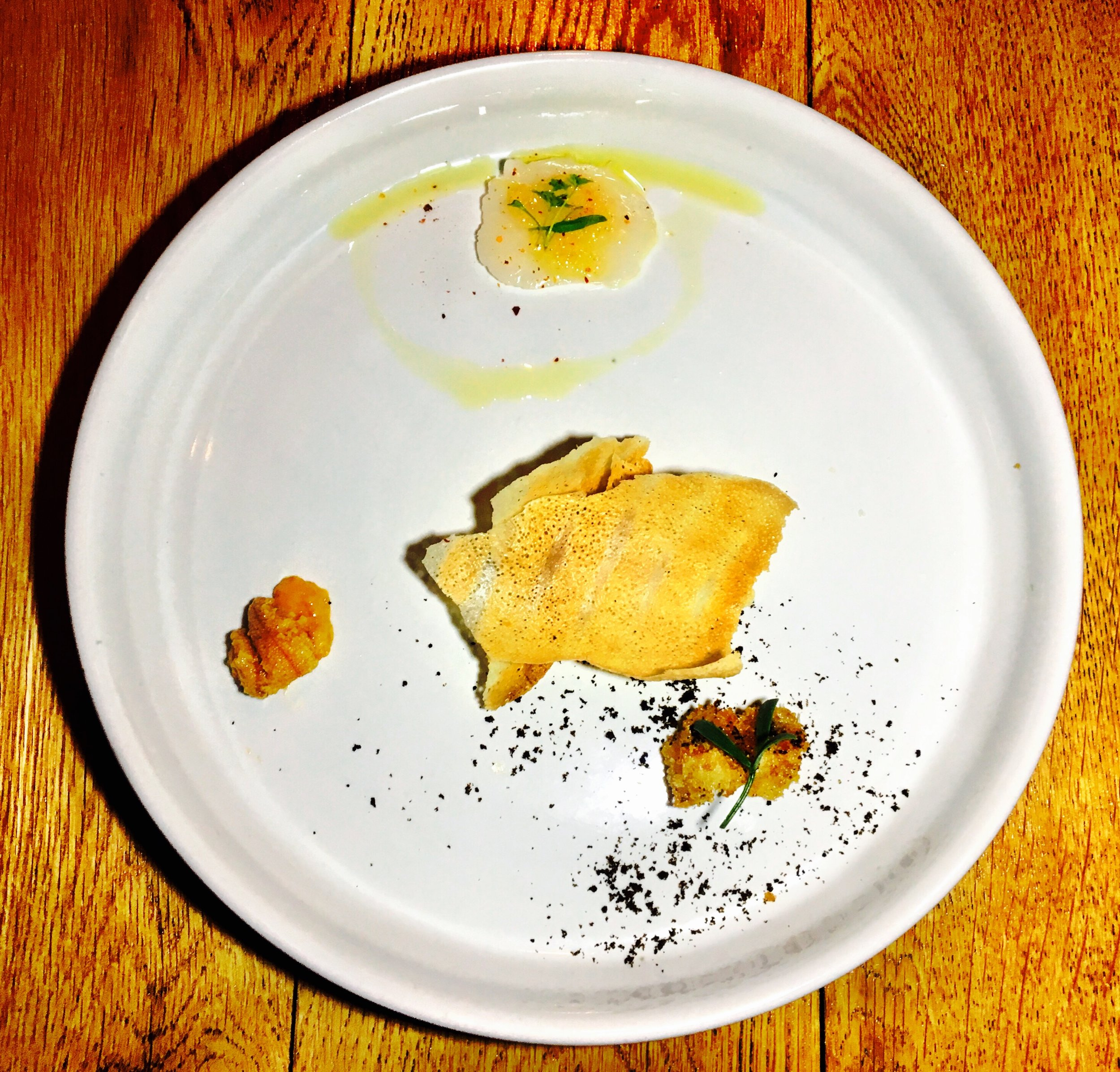 Amuse-Bouche - Fried Oyster, Scallop Ceviche and Sea Urchin