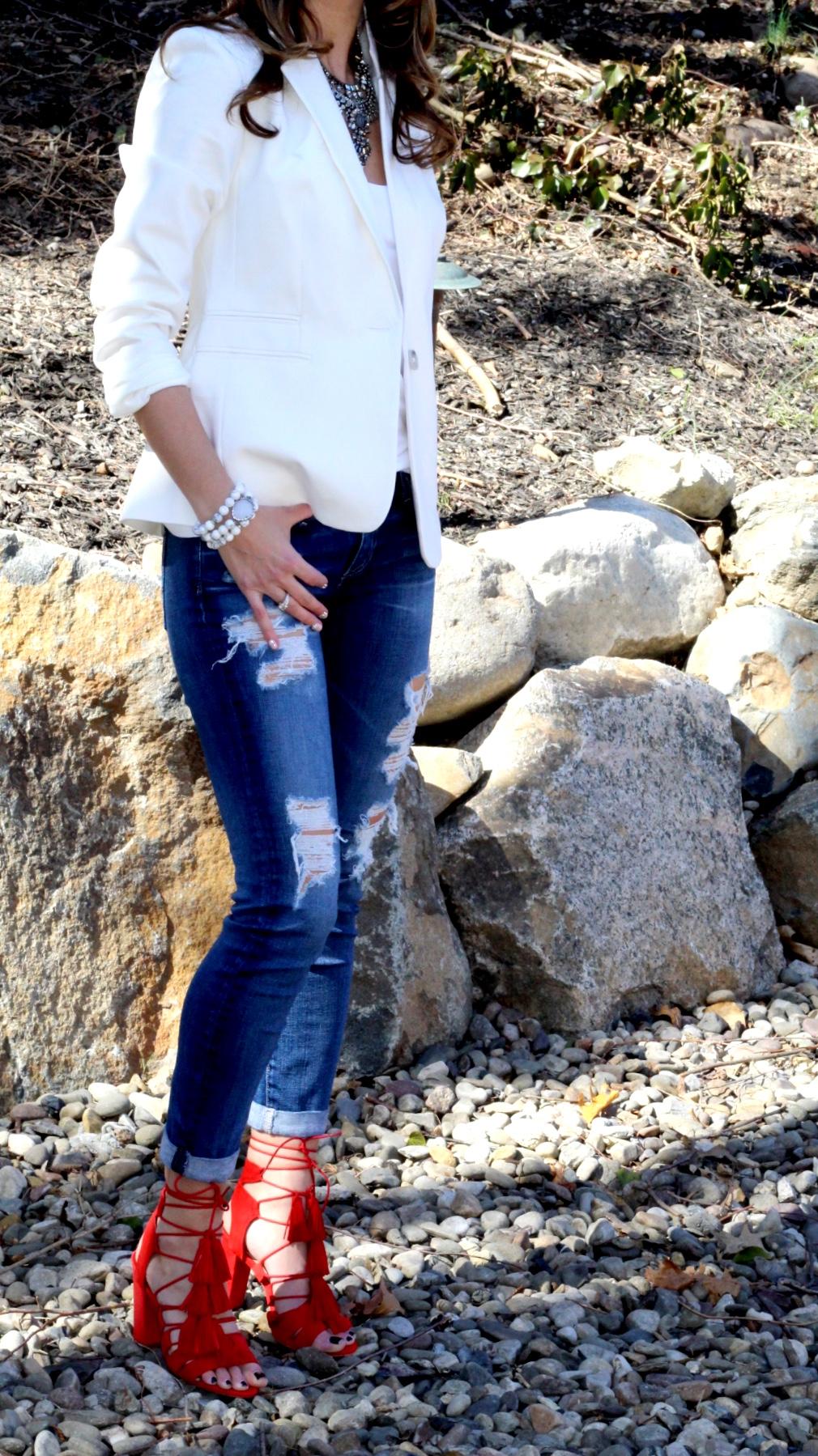 Jacket -  Express Jeans -  AG jeans Shoes -  Loeffler Randall   Necklace -  Dylan Lex  Bracelet -  Ladybug Couture