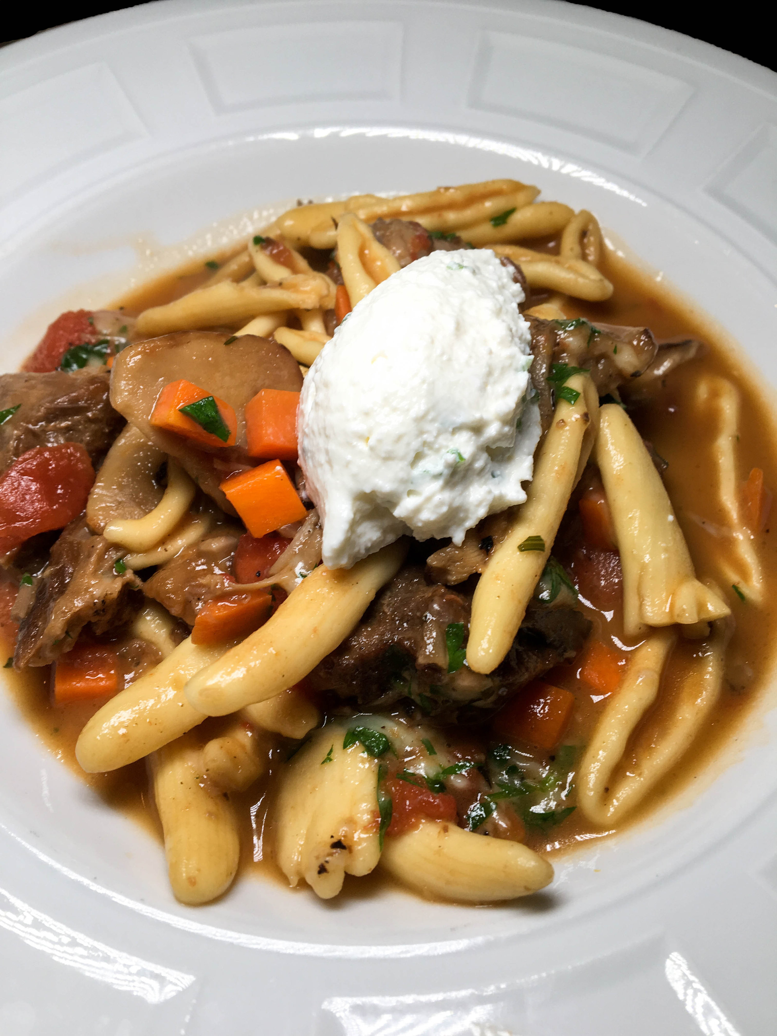 Fresh Cavatelli with Braised Berkshire Pork Shank Ragu - Porcini Mushrooms, Herbed Ricotta, Red Wine