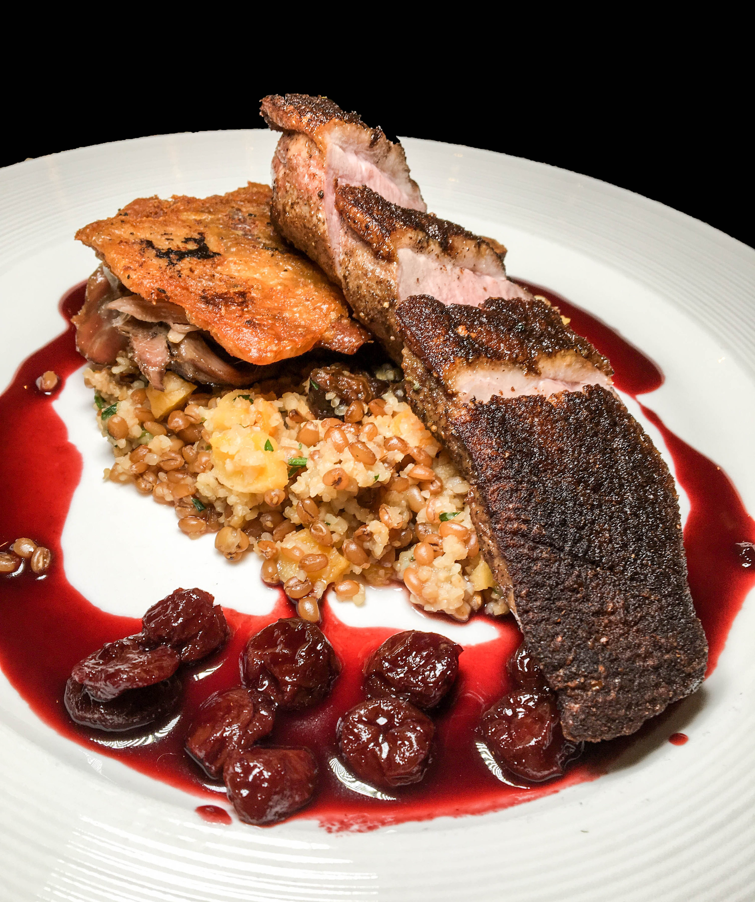 Crisp Long Island Duck Breast and Crisp Leg Confit - Apricot Wheatberry Pilaf, Spiced Cherry-Port Glaze