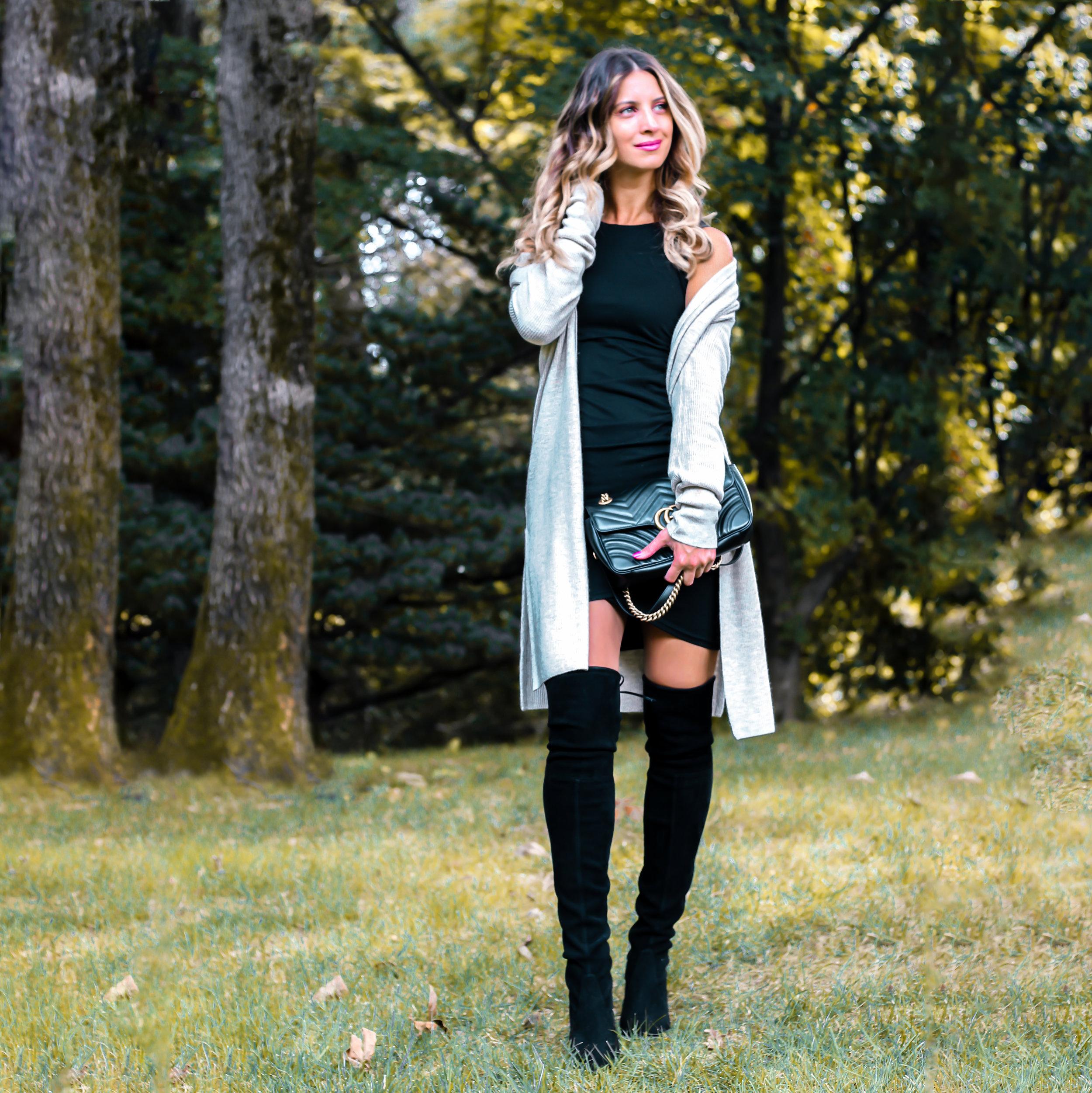 beige cardigan + black dress insta.jpg