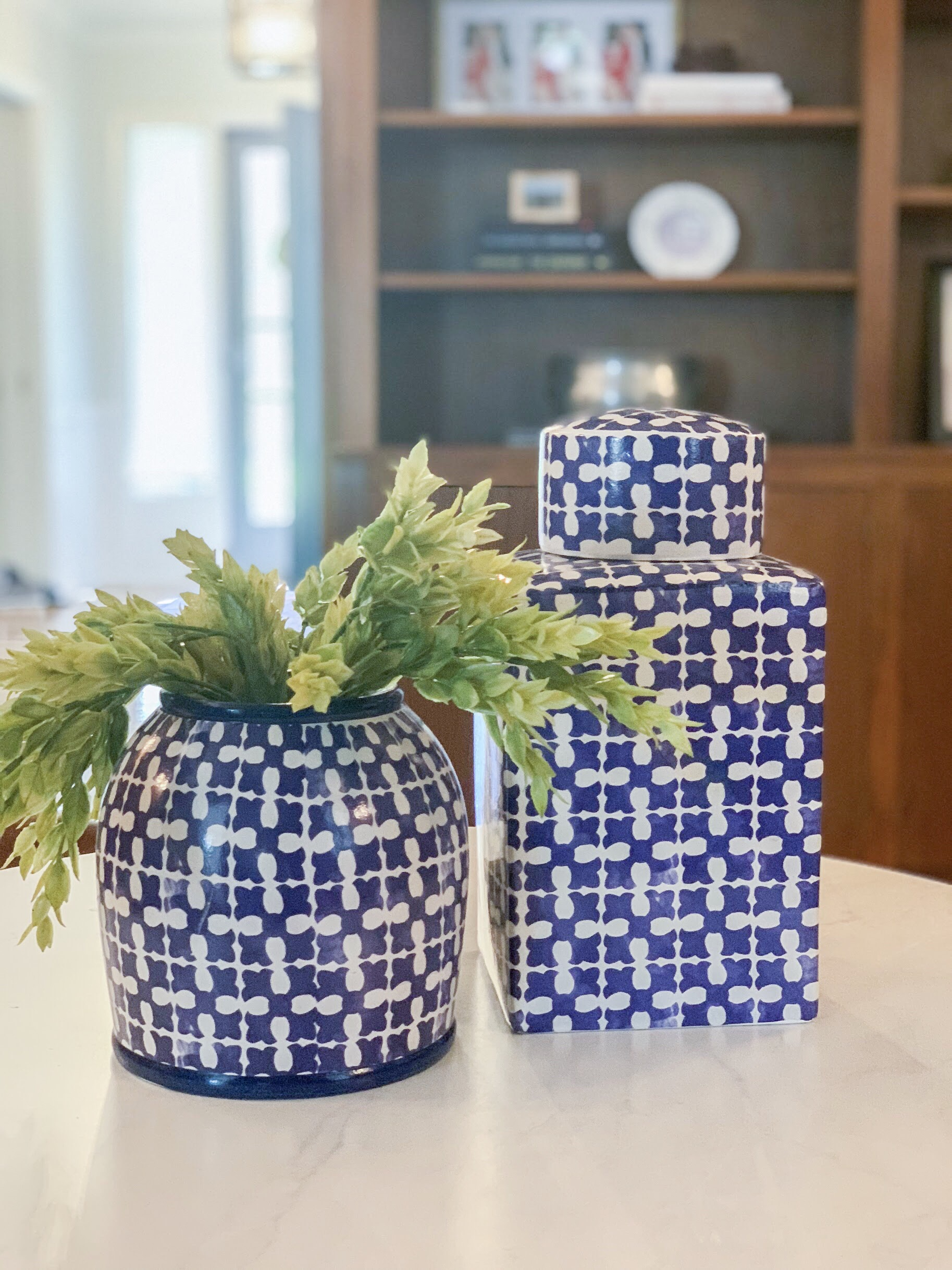 greenery in blue and white pottery