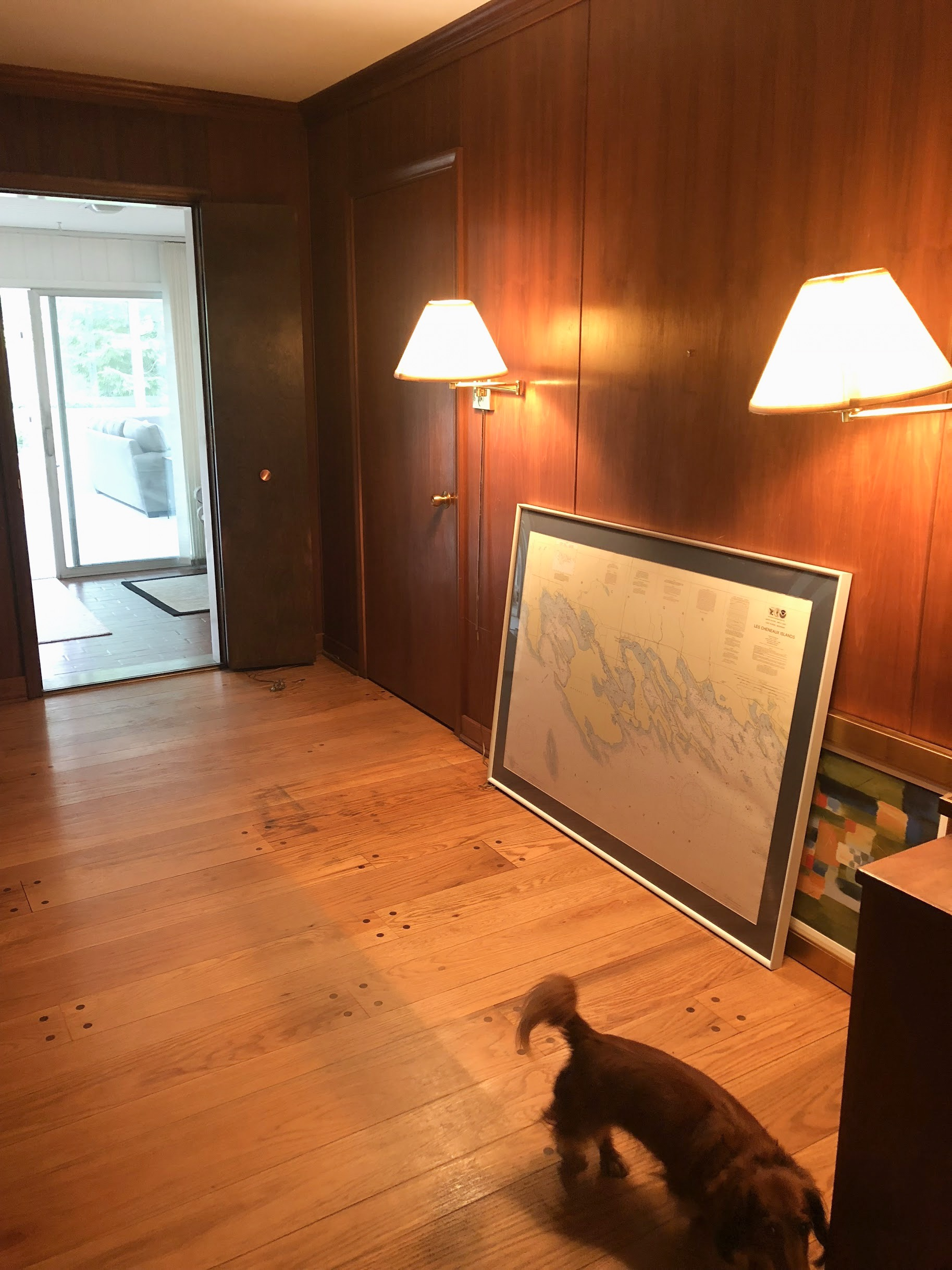 wood paneling in lounge