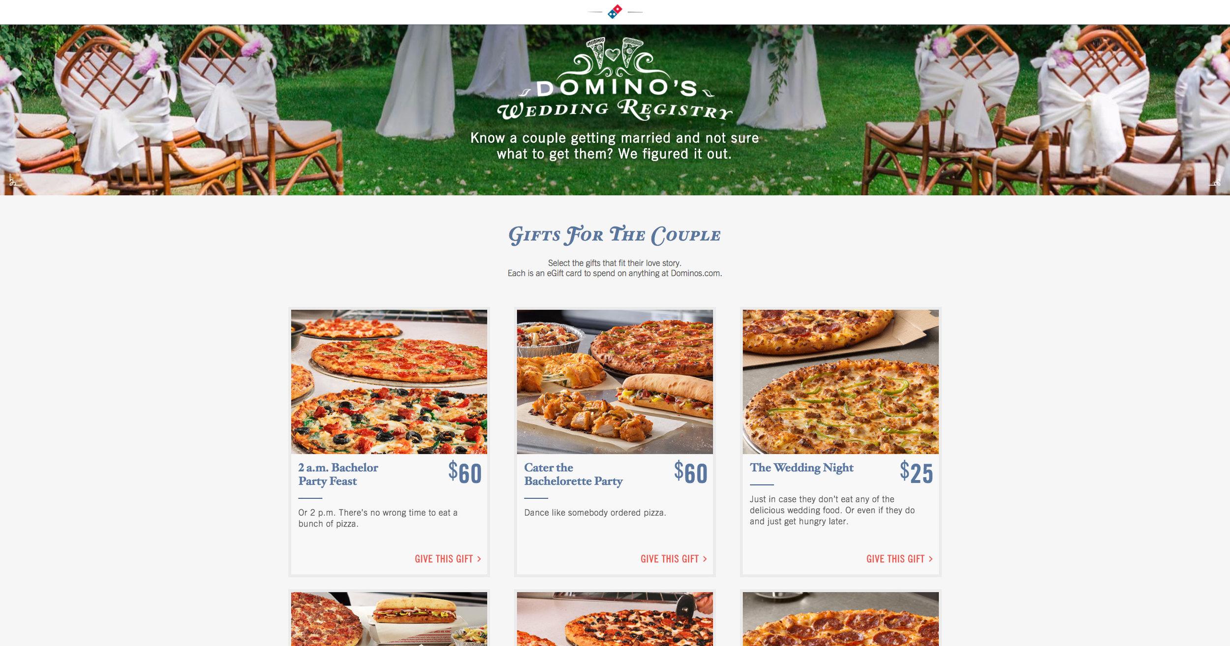Screenshot from the Domino's Wedding Registry website