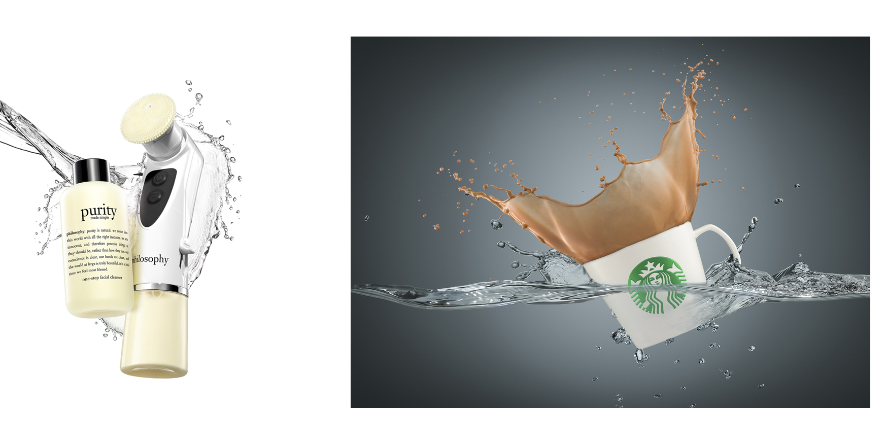 The image on the left is an example of splash being used to speak to the cleansing nature of the product. The image on the right is an example of someone using splash techniques just because they can.