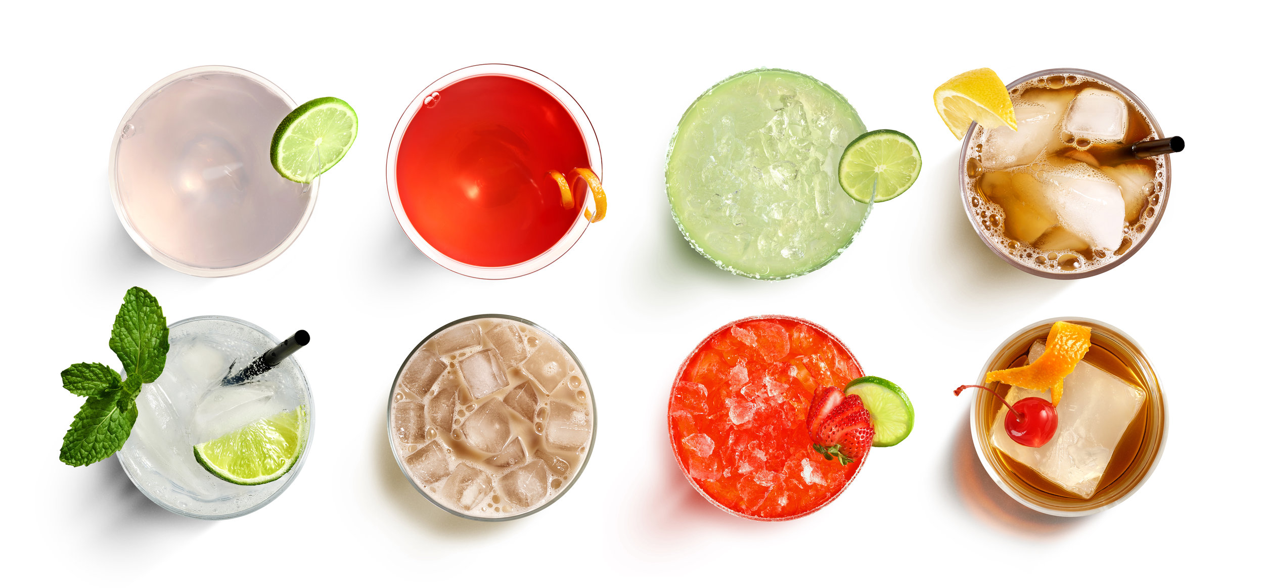 Overhead photographic view of beverages