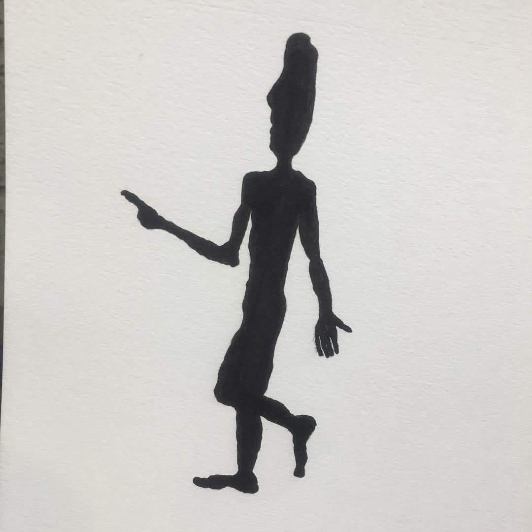 Below the Moai.  Ink on cardboard