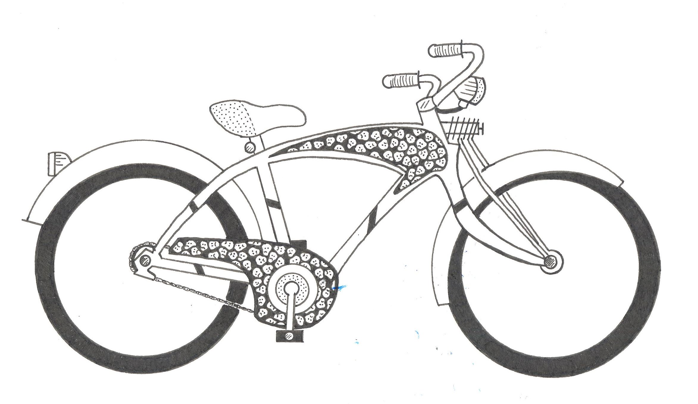 Skull Bike.  Pen and ink