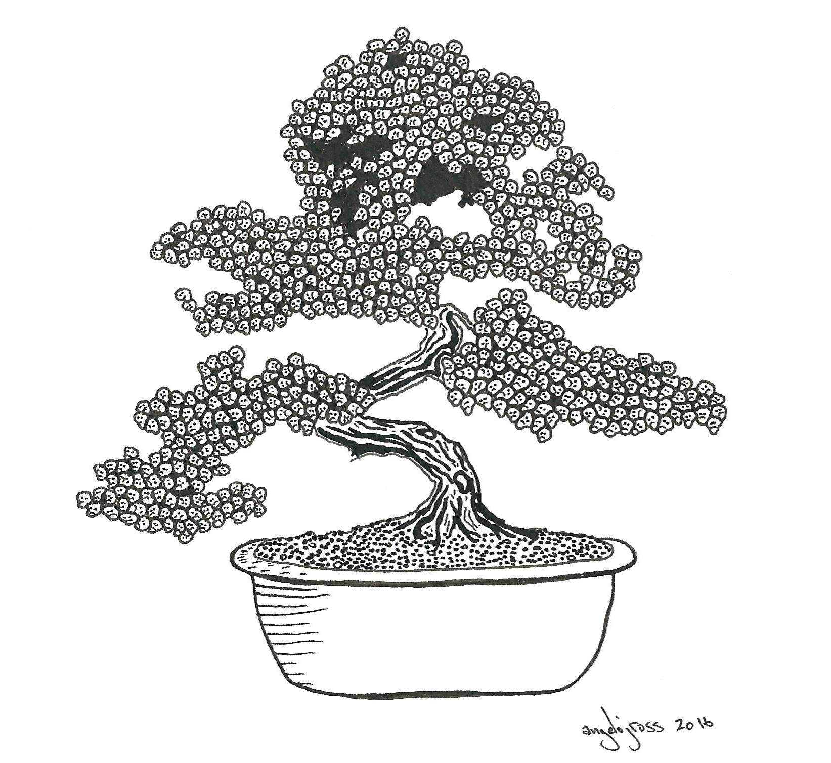 Creepy Bonsai.  Pen and ink