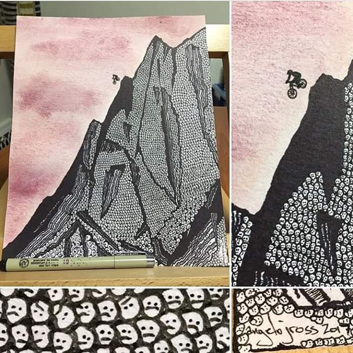Dropping in on Skull Mountain.  Watercolor and ink