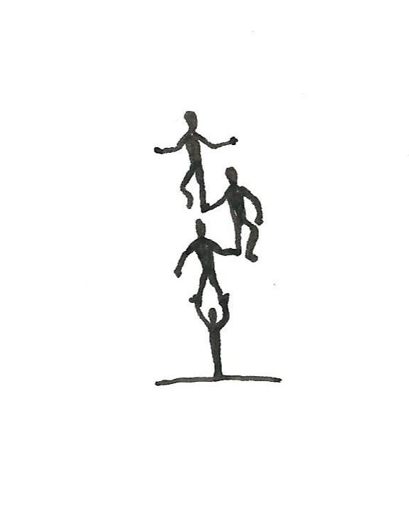 balance.  Pen and ink, sticky note