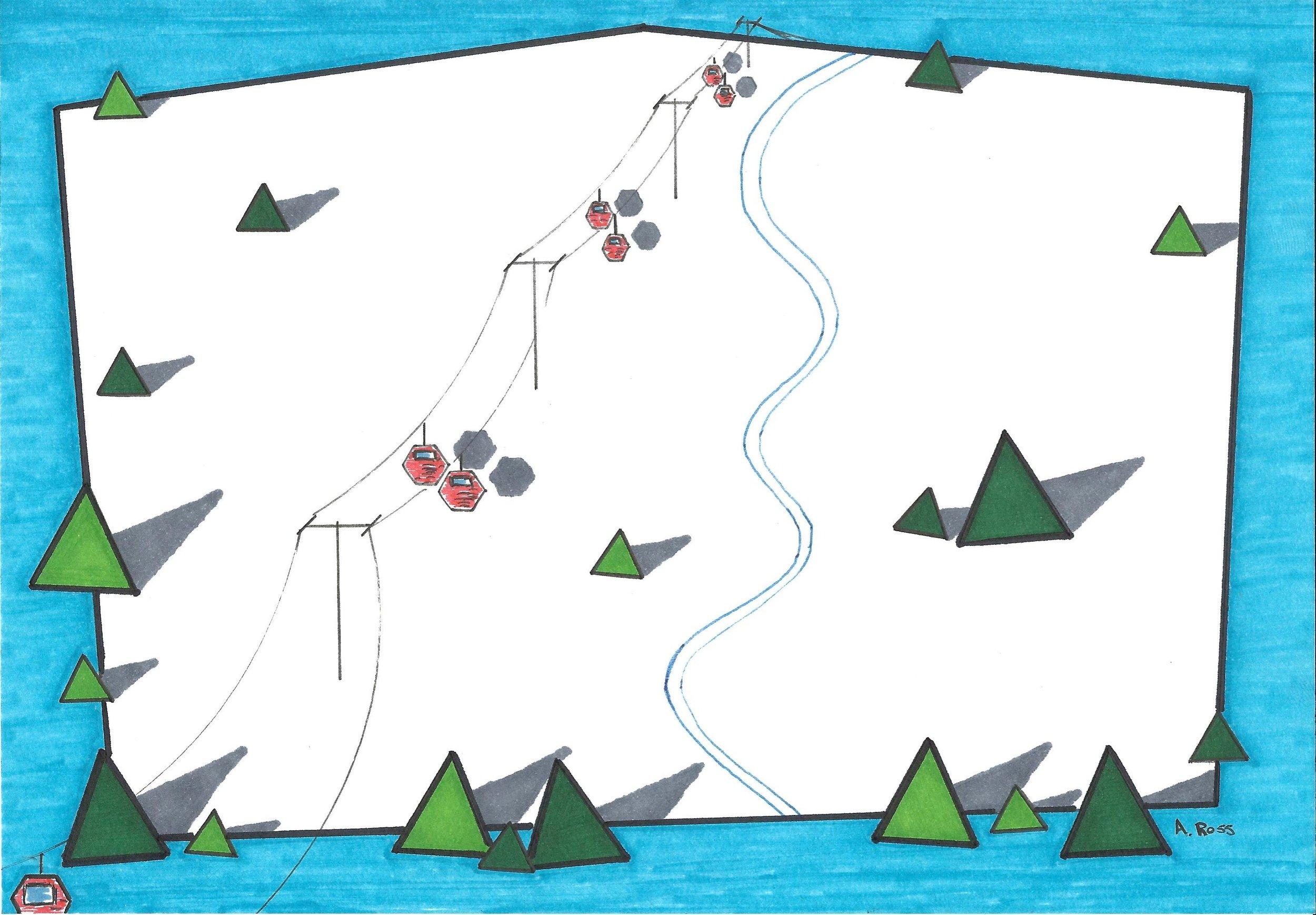 Rigid Mountain Ski Area.  Pen and ink