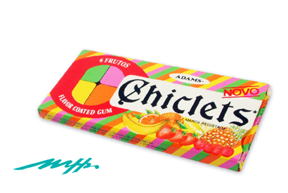 First  Chiclets  package created in Portugal in a contest won by the founder of Grupo MHS.