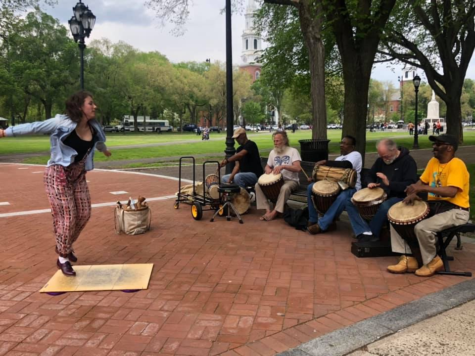 Alexis performing with the Bregamos Healing Drummers on the New Haven Green from the May 17th Pop-Up.