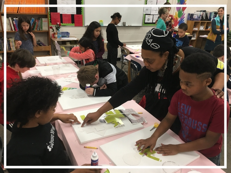 TAPAS artist Cleaster Cotton working with 4th grade students at Hall Fletcher Elementary School