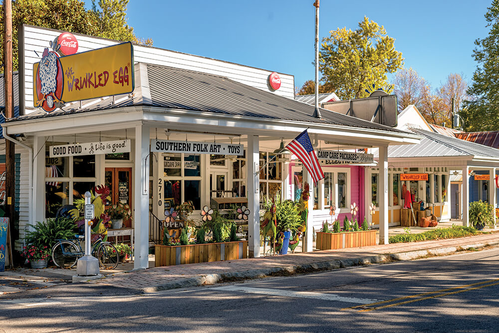 Little Rainbow Row - This colorful collection of brightly colored buildings contains a fun group of small boutiques and eateries in the heart of Historic Flat Rock. You will find the Flat Rock Village Bakery, The Wrinkled Egg, Honey and Salt Restaurant, Hubba Hubba Smokehouse, The Magnolia Gallery, as well as the delightful Flat Rock Tailgate Market each Thursday from 3 to 6pm during the Spring, Summer, and Fall.